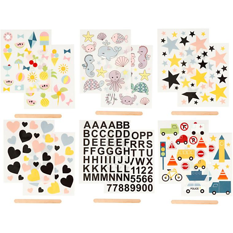 Rub on stickers, ark 12,2x15,3 cm, 12ark