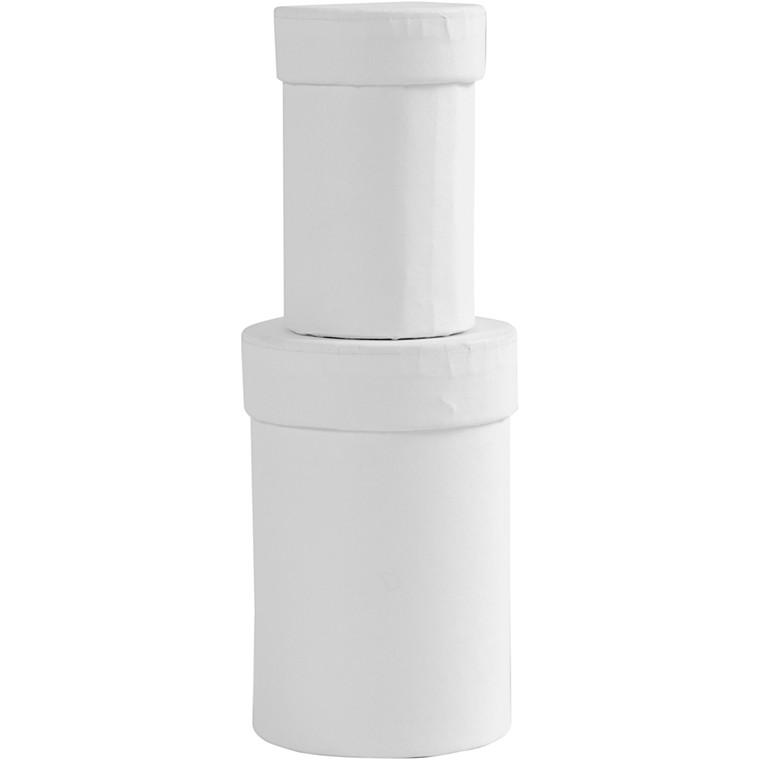 Runde æsker, str. 4,5+6 cm, H: 7+9 cm, hvid, 2stk.