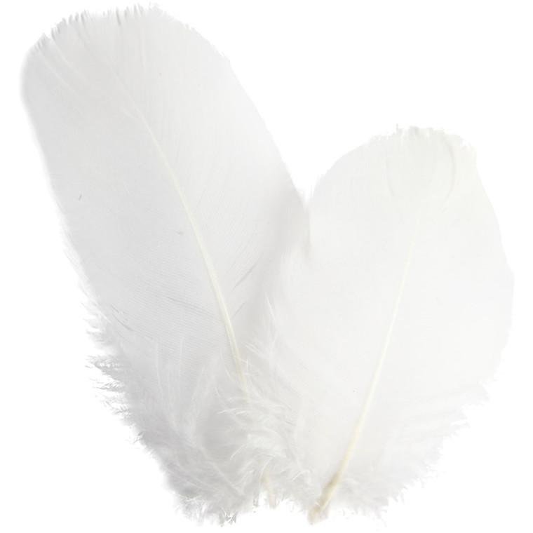 Rundfjer gås 8 cm lange hvid - 3 gram