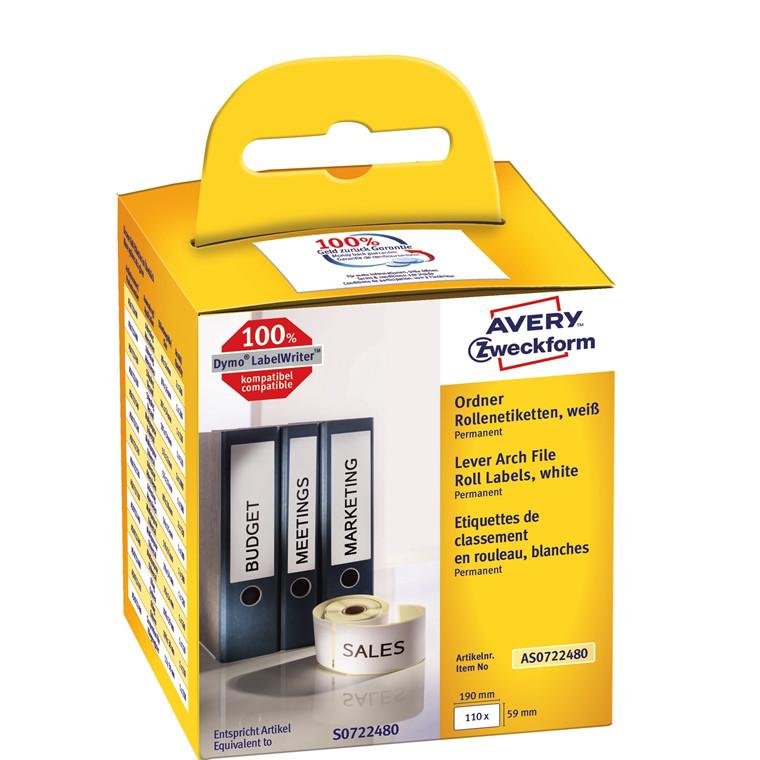 Avery AS0722480 -  Ringbindsetiketter til Dymo Labelwriter 190 x 59 mm - 110 etiketter