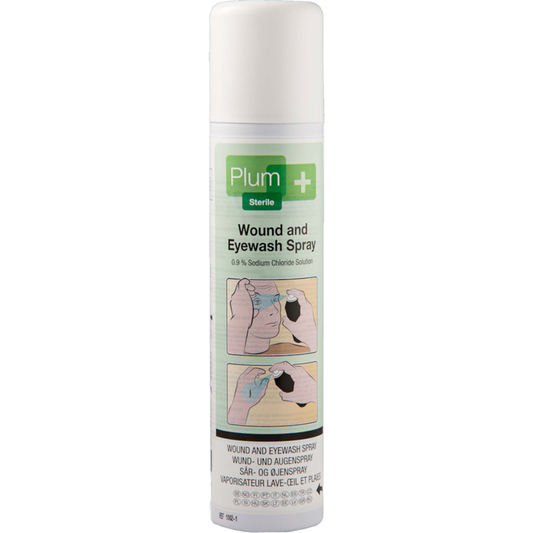 Sår- og øjenskyl, Plum, spray, NaCL, steril, 250 ml