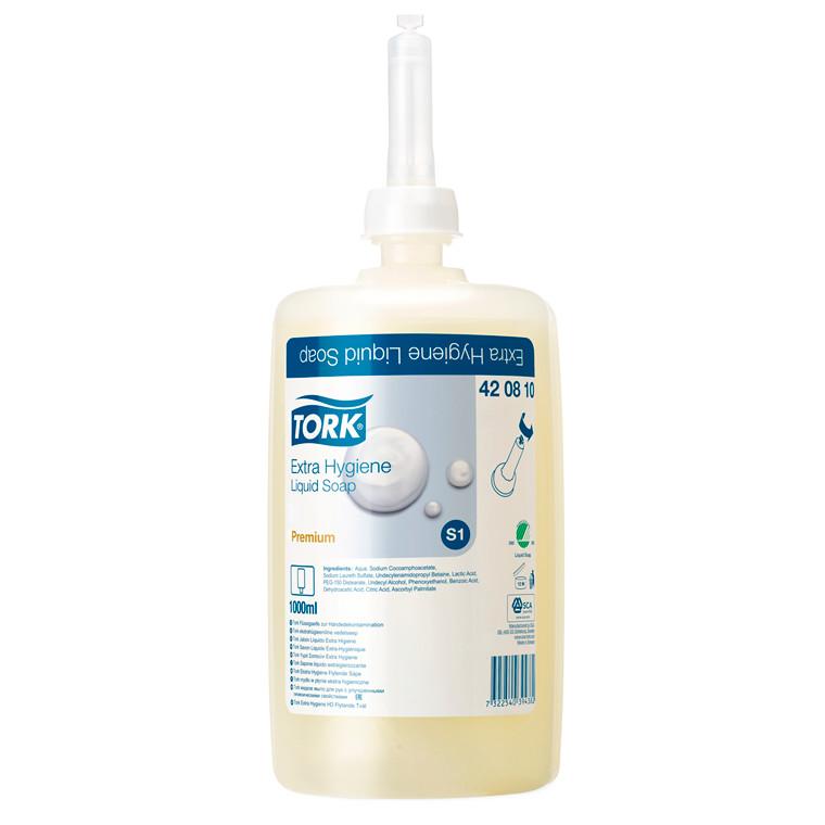Tork Extra Hygiene Sæbe 420810 S1 Premium ufarvet - 6 flasker á 1 liter