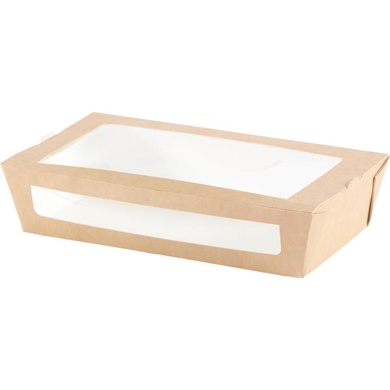 Salatbox PLA med vindue - 200 x 120 x 45 mm - 250 stk.