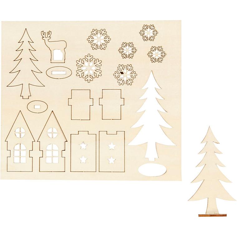 Saml-selv træfigur hus træ hjort 15,5 x 17,5 cm krydsfiner - tykkelse 3 mm