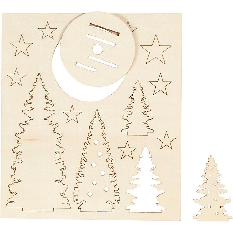 Saml-selv træfigur juletræer 20 x 17,5 cm krydsfiner - tykkelse 3 mm