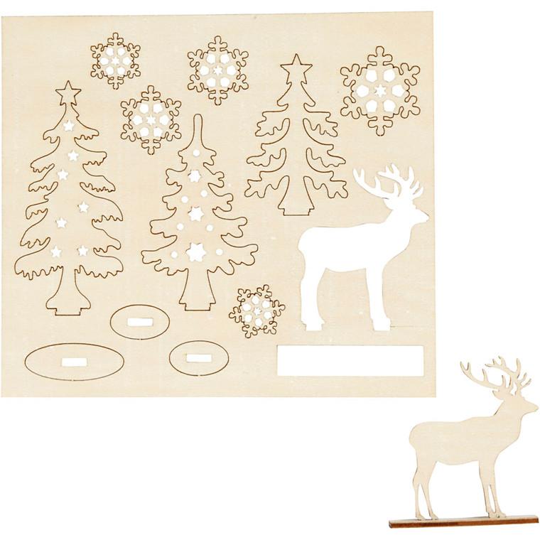 Saml-selv træfigur skov med krondyr 15,5 x 17,5 cm krydsfiner - tykkelse 3 mm