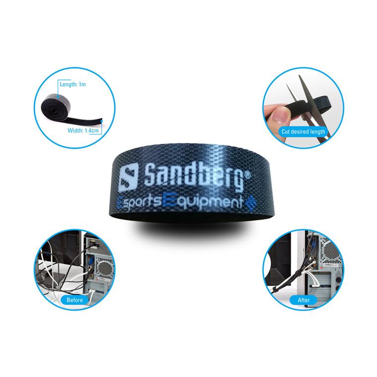 Sandberg Cable Velcro Strap 5-pack, Black