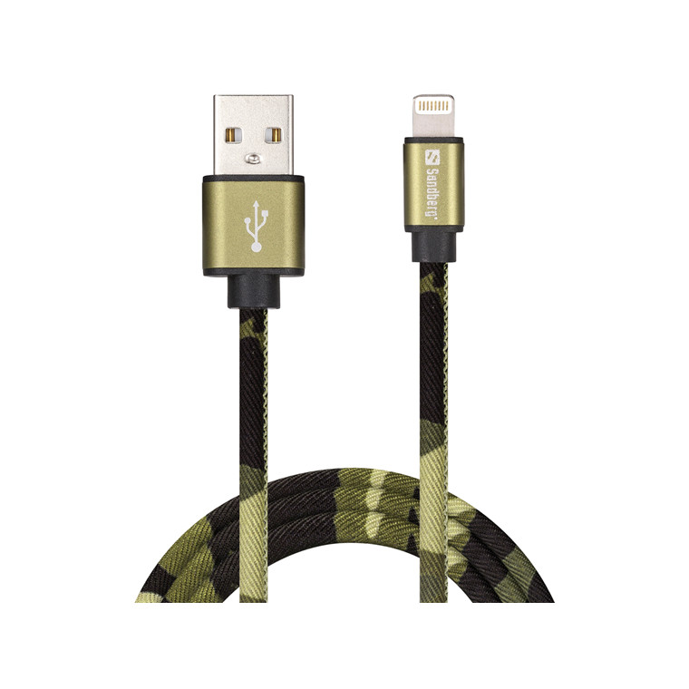 Sandberg Lightning Cable, Green Camouflage (1m)