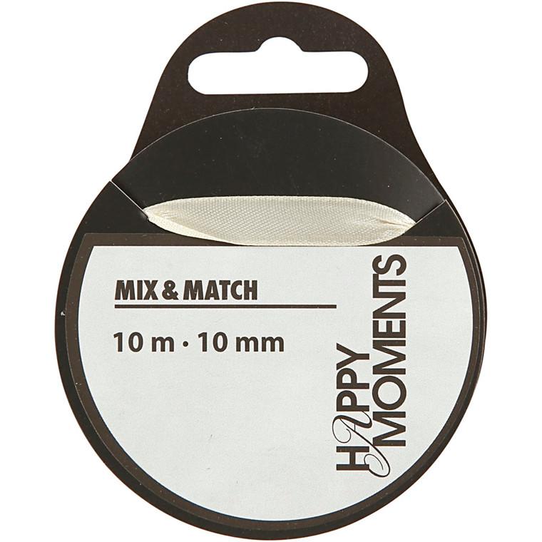 Satinbånd bredde 10 mm råhvid | 10 meter