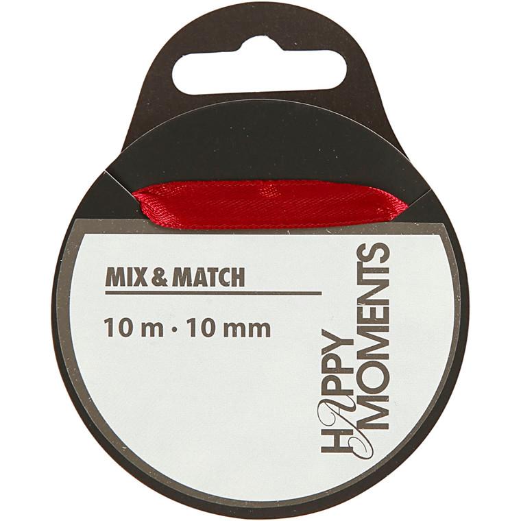 Satinbånd bredde 10 mm vinrød - 10 meter