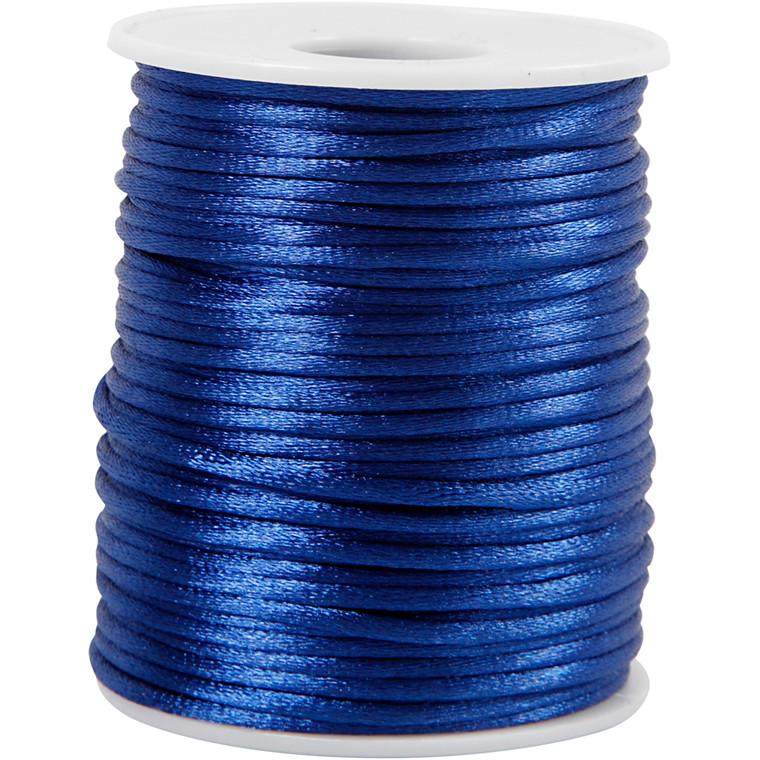 Satinsnor, tykkelse 2 mm, mørk blå, 50m
