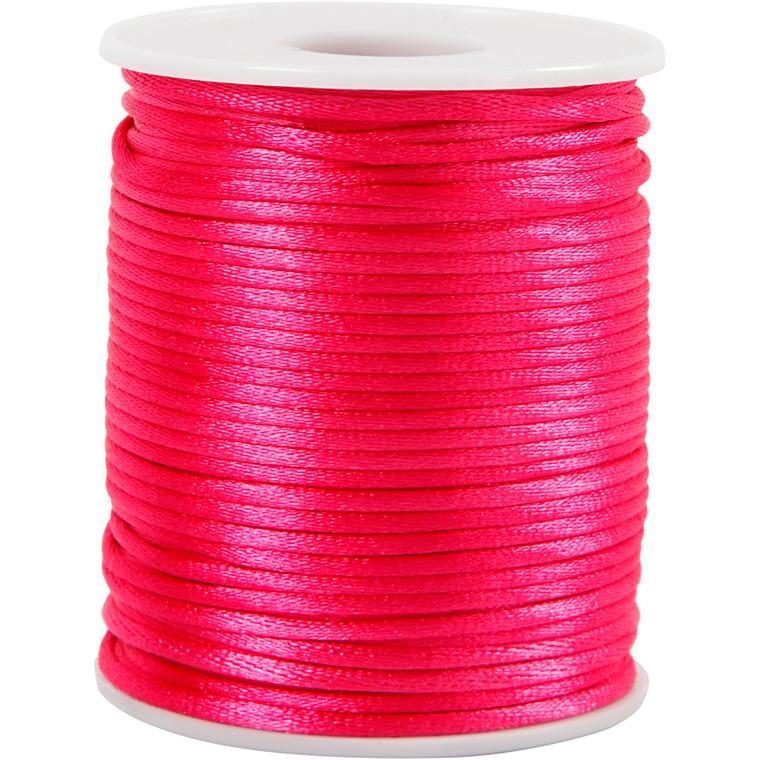 Satinsnor, tykkelse 2 mm, pink, 50m