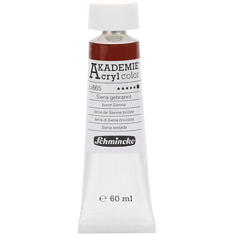 Schmincke AKADEMIE® Acryl color, Burnt sienna (665) , opaque , extremely light fast , 60ml