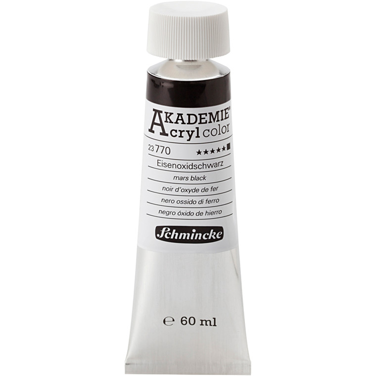 Schmincke AKADEMIE® Acryl color, Mars black (770) , opaque , extremely light fast , 60ml
