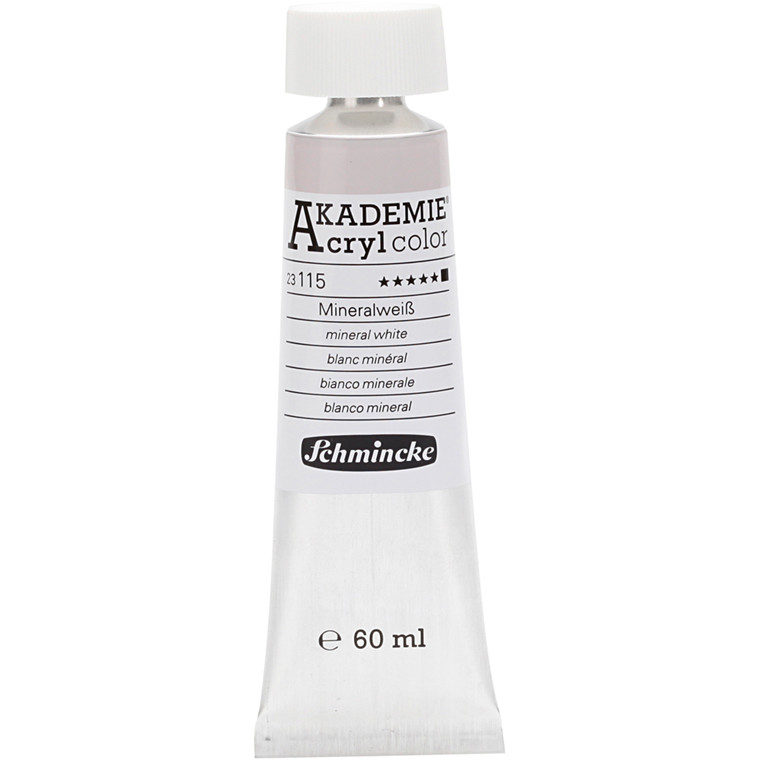Schmincke AKADEMIE® Acryl color, Mineral white (115) , opaque , extremely light fast , 60ml