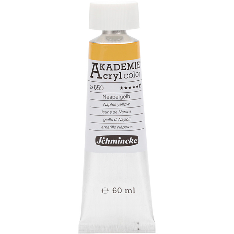 Schmincke AKADEMIE® Acryl color, Naples yellow (659) , semi-opaque , extremely light fast , 60ml