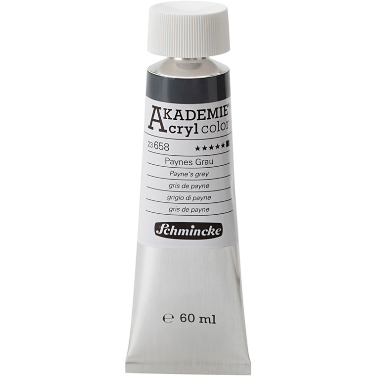 Schmincke AKADEMIE® Acryl color, Payne's grey (658) , opaque , extremely light fast , 60ml