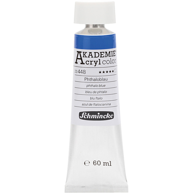 Schmincke AKADEMIE® Acryl color, Phthalo blue (448) , transparent , extremely light fast , 60ml