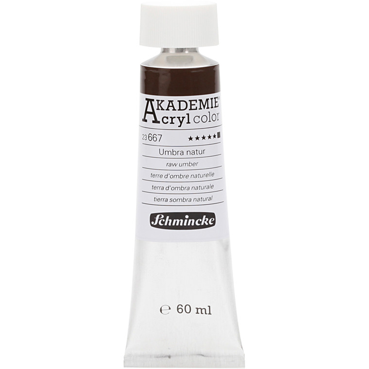 Schmincke AKADEMIE® Acryl color, Raw umber (667) , opaque , extremely light fast , 60ml