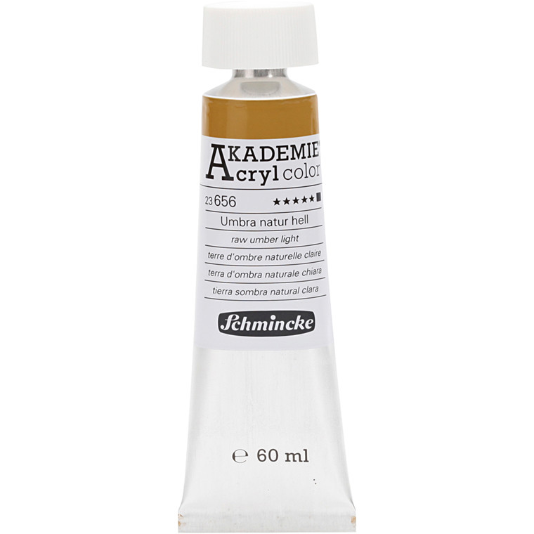 Schmincke AKADEMIE® Acryl color, Raw umber light (656) , opaque , extremely light fast , 60ml
