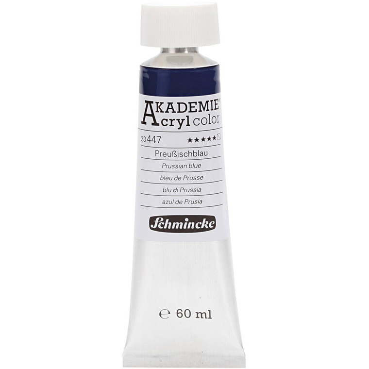 Schmincke AKADEMIE® Acryl color, S/T , extremely light fast , prussian blue (447), 60ml