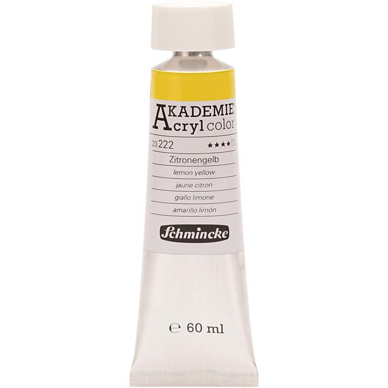 Schmincke AKADEMIE® Acryl color, S/T , good lightfastness , lemon yellow (222), 60ml