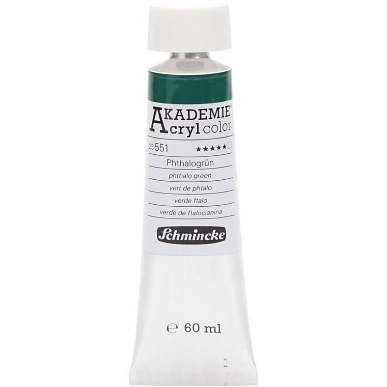 Schmincke AKADEMIE® Acryl color, T , extremely light fast , phthalo green (551), 60ml
