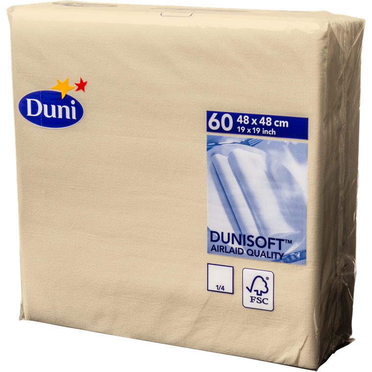 Servietter buttermilk - 48 x 48 cm - Soft airlaid - 60 stk. i en pakke