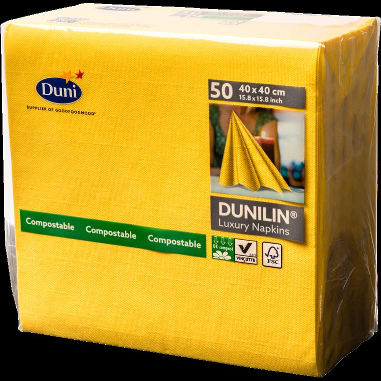 Servietter Dunilin gul 40 x 40 cm - 50 stk