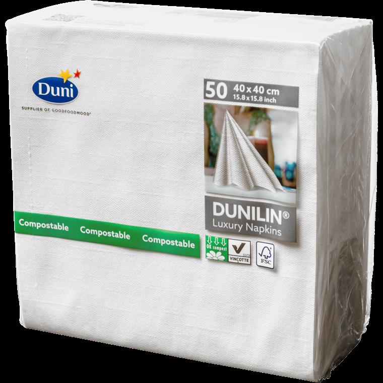 Servietter Dunilin hvid 40 x 40 cm - 50 stk.