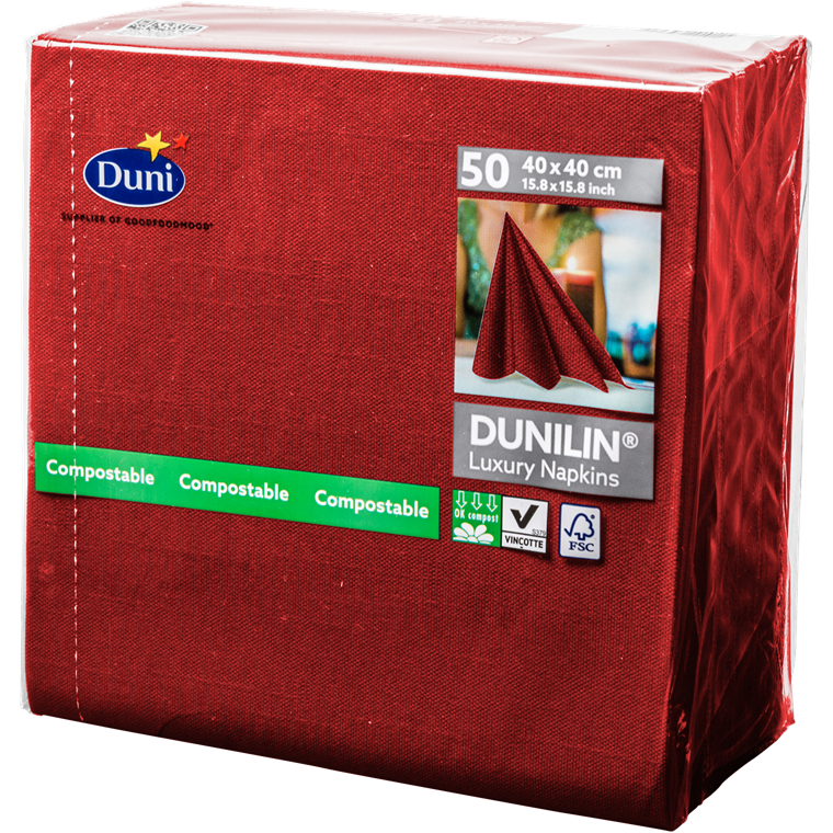 Servietter Dunilin rød 40 x 40 cm - 50 stk.