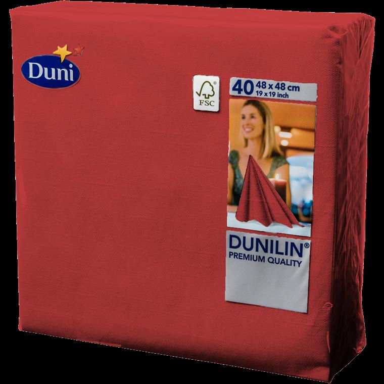 Servietter Dunilin rød 48 x 48 cm - 40 stk.