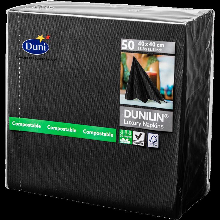 Servietter Dunilin sort 40 x 40 cm - 50 stk.