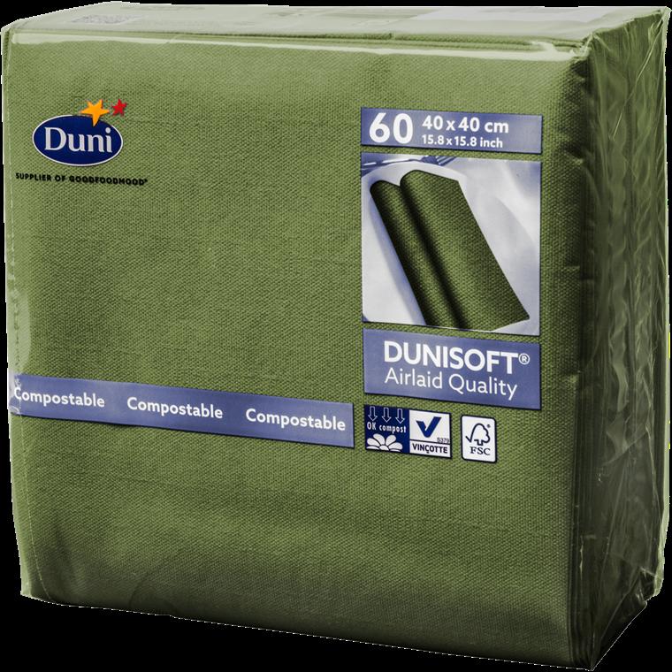 Servietter herbalgreen - 40 x 40 cm - Soft airlaid - 60 stk. i en pakke