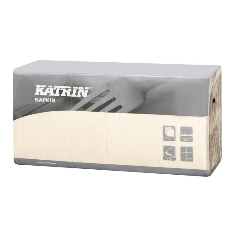 Servietter Katrin 1/4 Fold - 3-lags - creme - 25 cm - 4 x 250 stk.