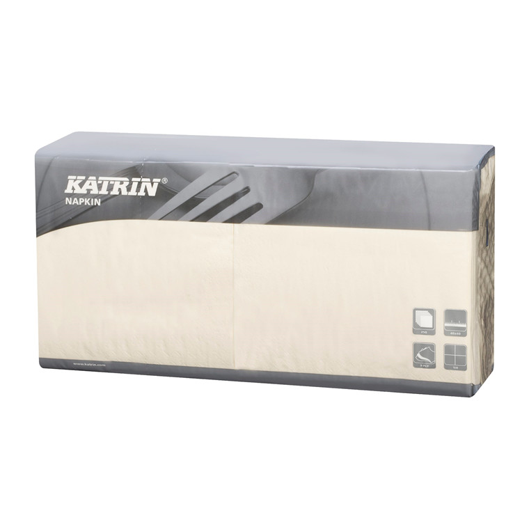 Servietter Katrin 1/4 Fold - 3-lags - creme - 40 cm - 4 x 250 stk - 115437