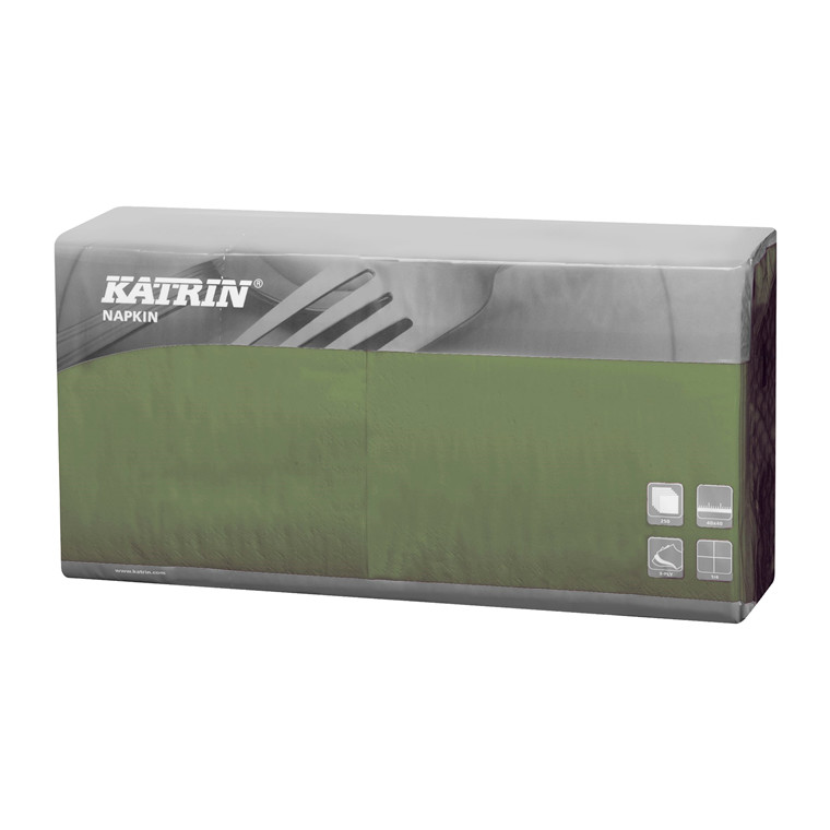 Servietter Katrin 1/4 Fold - 3-lags grøn - 40 cm - 4 x 250 stk - 115376