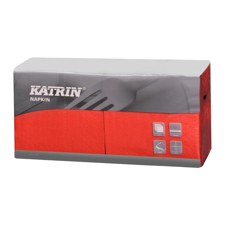 Servietter Katrin 1/4 Fold - 3-lags rød - 25 cm - 4 x 250 stk. - 113167