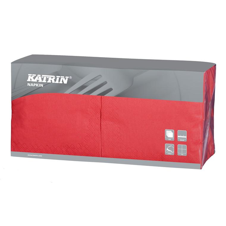 Servietter Katrin 1/4 Fold - 3-lags - rød - 33 cm - 4 x 250 stk