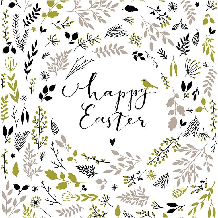 Servietter, str. 33x33 cm, glædelig påske, 20stk.