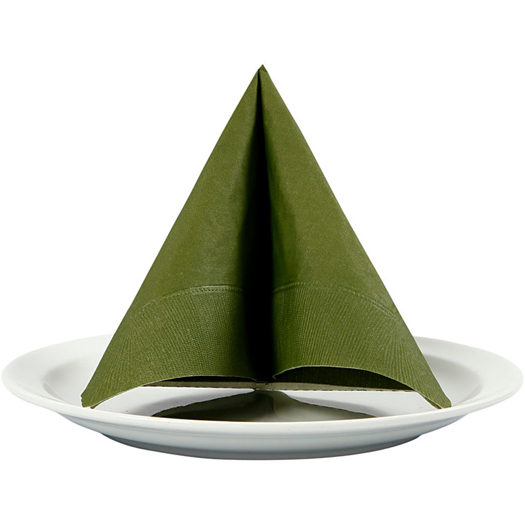 Servietter, str. 33x33 cm, mørk grøn, 20stk.