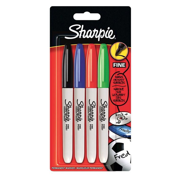Sharpie Fine Permanent Marker - Sæt med 4 farver