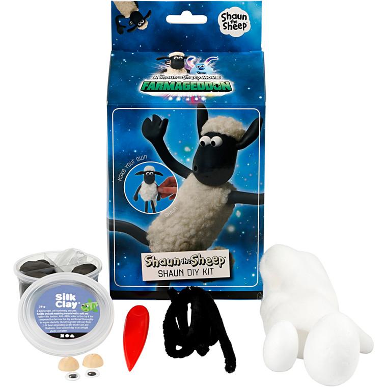 Shaun the Sheep, hvid, sort, modellering, 1sæt