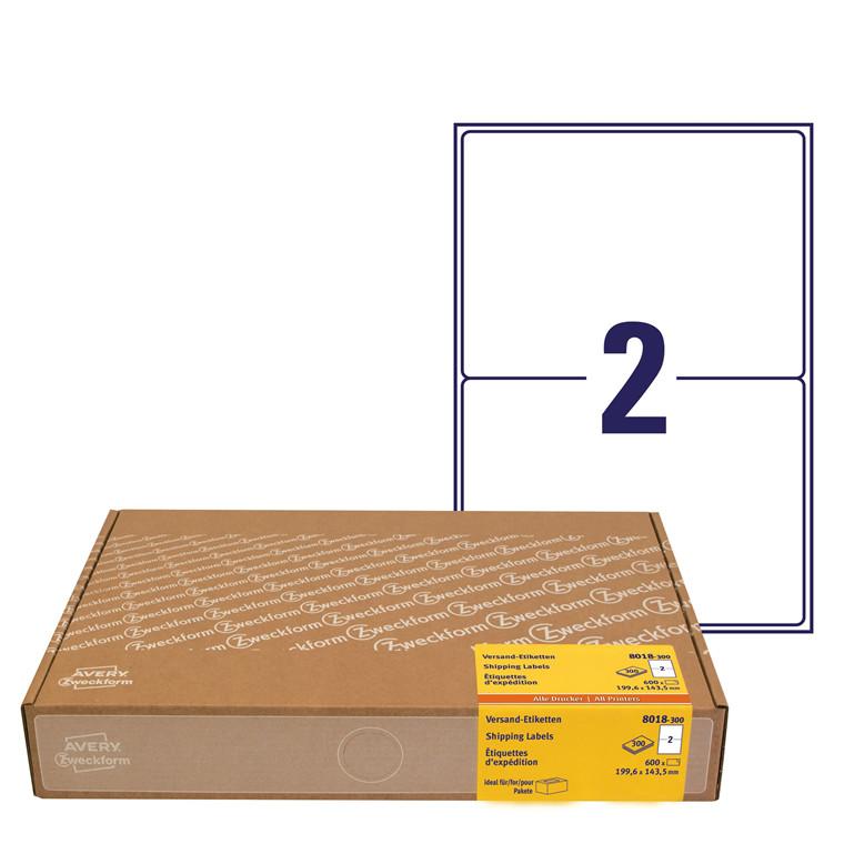 Avery 8018-300 - Shipping etiketter økonomipakke 199,6 x 143,5 mm - 300 ark