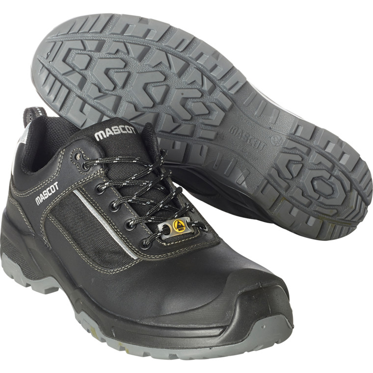 Sikkerhedssko, Mascot Footwear Flex, 39, sort, fuldnarvet bøffellæder, S1P, SRC, ESD, med snørebånd, stigegreb, metalfri, herre