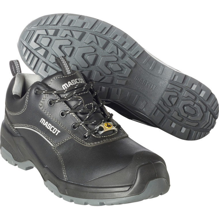 Sikkerhedssko, Mascot Footwear Flex, 41, sort, Fuldnarvet bøffellæder, S3, SRC, ESD, med snørebånd, stigegreb, metalfri, herre