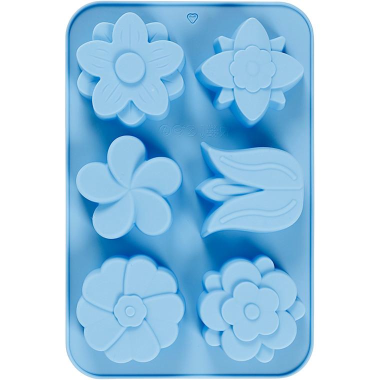 Silikoneform, hulstr. 60x75 mm, 75 ml, lys blå, blomster, 1stk.