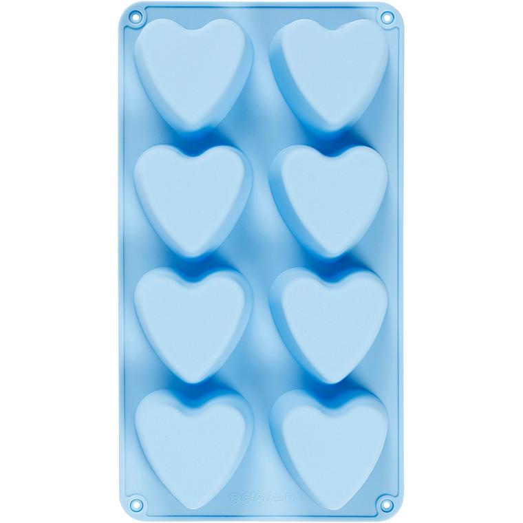 Silikoneform, hulstr. 70x60 mm, 100 ml, lys blå, hjerter, 1stk.
