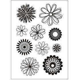 Silikonestempler, ark 11x15,5 cm, blomster, 1ark