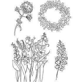Silikonestempler, ark 11x15,5 cm, forår, 1ark